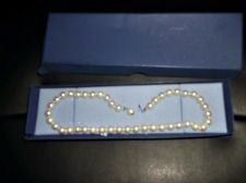 SIMPLE ELEGANCE SINGLE STRAND FAUX PEARLS NECKLACE SILVER TONE HOOK BOXED